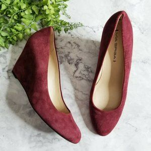 Via Spiga Darby Burgundy Suede Leather Wedge Pumps